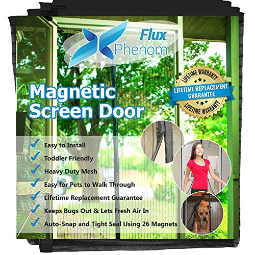 Flux Phenom Reinforced Magnetic Screen Door, Fits Doors Up To 38 x 82-Inch Dog Screen Door