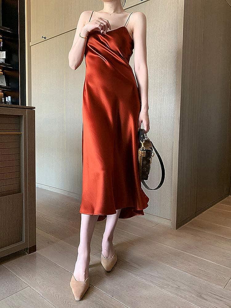 NOBRAND Sling Dress Sciolto e Versatile era sottile e fresco rete rossa Gonna Vestito Lungo Gonna Vino Rosso