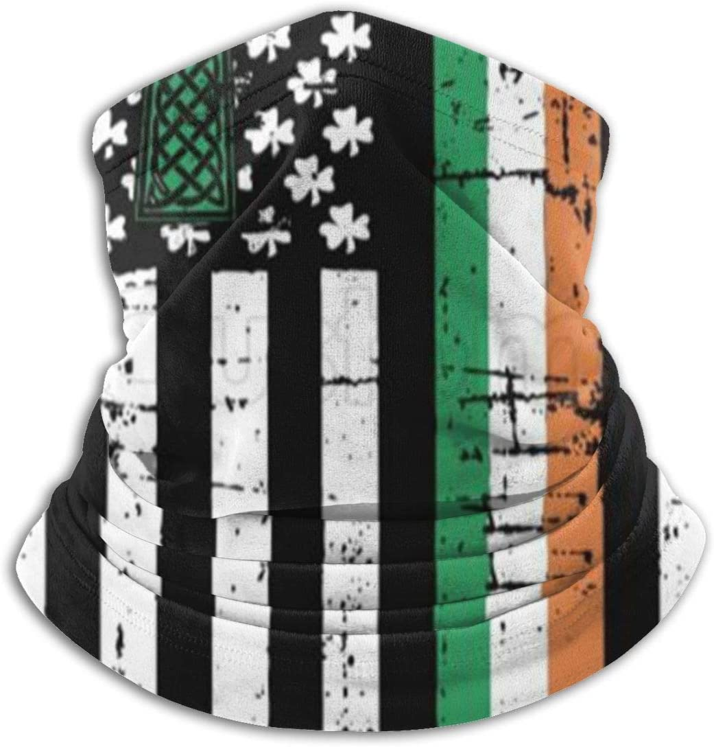 antfeagor Irish American Flag Ireland Heritage Pride Unisex Seamless Rave Bandana Neck Gaiter Tube Headwear Bandana Summer UV Protection Neck Gaiter Face Scarf Mask
