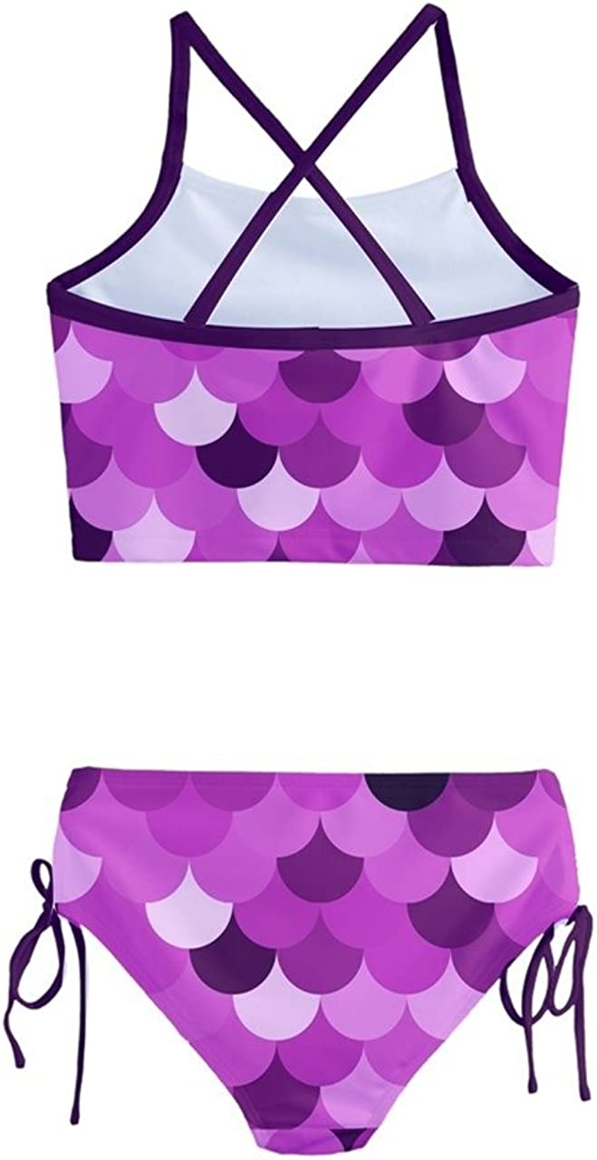PattyCandy Little Girls 2pcs Bikini Set Bright Fish Scale Mermaid Prints Toddler Tankini Swimsuit Size 2-16