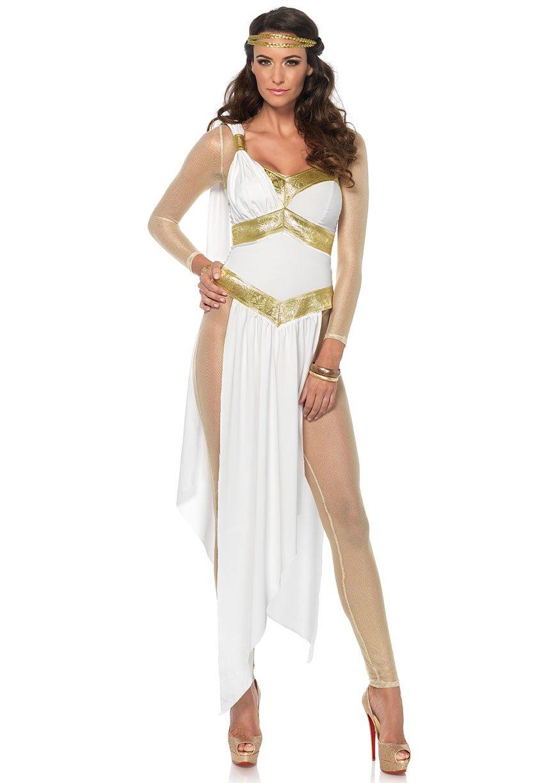 Leg Avenue Women's Greek Goddess Gold Bodysuit Costume, White/Gold, Medium