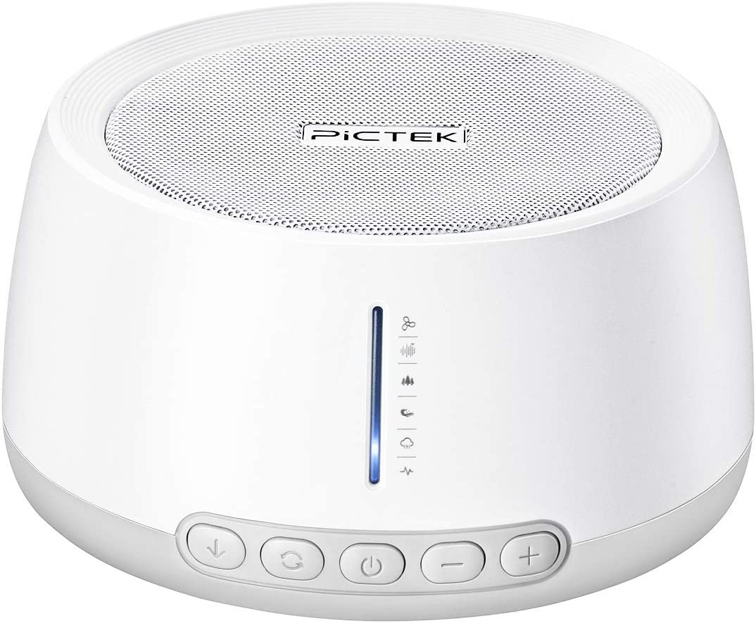 White Noise Machine, PICTEK 30 Non-Looping Soothing Sounds Machine for Baby Sleeping, Office Privacy, 3 Auto-Off Timer & Memory Function, USB Powered Sound Therapy for Adults or Travel (NO Adapter)