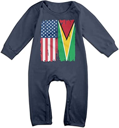 Mri-le1 Newborn Baby Bodysuits American Guyana Flag Baby Clothes