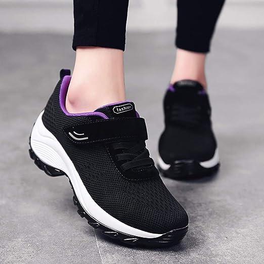 Luckycat Mujer Zapatillas de Deporte Cuña Zapatos para Correr Plataforma Sneakers con Cordones Calzado de Malla Air Tacón 5cm Zapatillas Mujer Zapatos de Malla de Deporte Respirable Zapatos Cordones: Amazon.es: Relojes