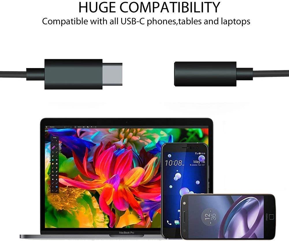 Type C to Audio Jack Converter for MacBook Pro Pixel and XL Motorola Moto Z Xiaomi 8 Le Pro 3 and Other not Compatible with Pixel 2//HTC Phones 2 Pack USB C to 3.5mm Headphone Jack Adapter