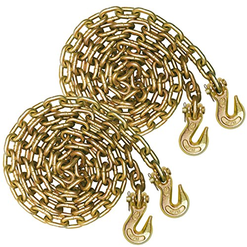 Vulcan Classic Grade 70 Standard Duty Binder Chain With Clevis Grab Hooks - 4,700 lbs. Safe Working Load (5/16'' x 20' - Pack of -