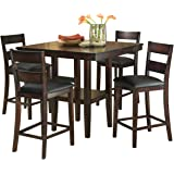 ba33823f7ec5 Standard Furniture 10036 Pendwood Counter Height Dining Table Set Dark  Cherry Brown