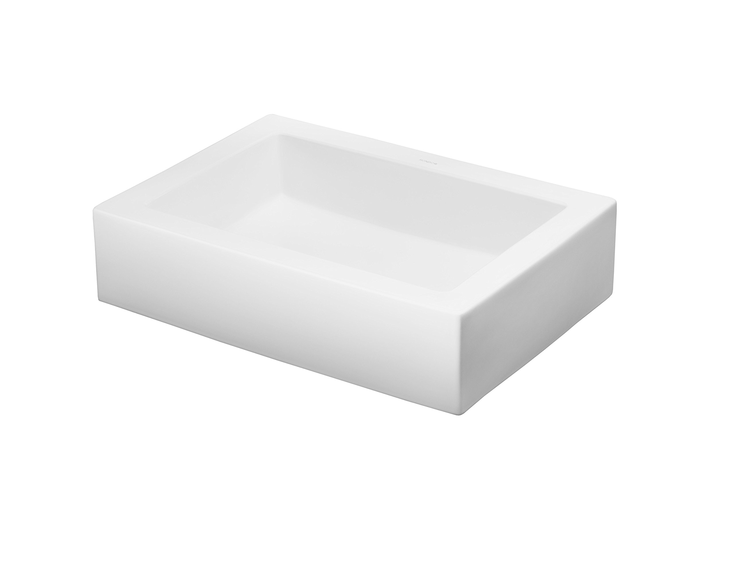 RONBOW Format 23 Inch Above Counter Ceramic Bathroom Vanity Vessel Sink in White 200036-WH
