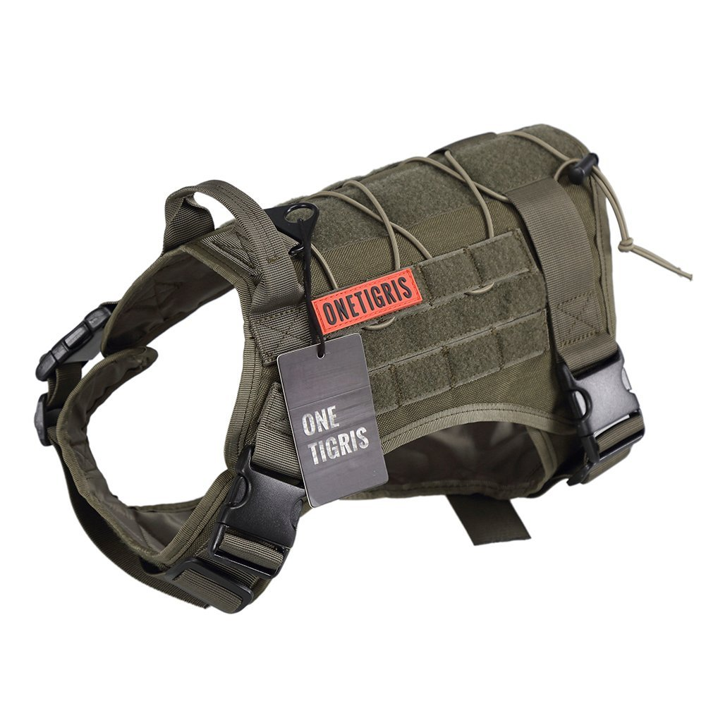 OneTigris Tactical Service Dog Vest – Water-Resistant Comfortable Military Patrol K9 Dog Harness with Handle (Medium, Ranger Green)