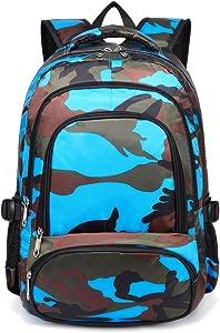 BLUEFAIRY Boys Camouflage School Bags for Kids Backpacks for Elementary Lightweight Waterproof (Camo Blue)