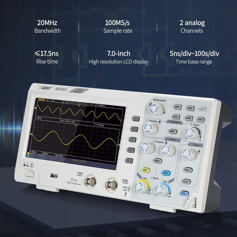 s SDS1022 Oszillometer Speicher Oszilloskop 7mit LCD-Display KKmoon Digital Oszilloskop 2CH 20MHz 100MS