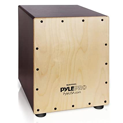 Pyle Stringed Birch Wood Compact Acoustic Jam Cajon Wooden Hand Drum Percussion Box With Internal Guitar Strings Deep Bass Classic Slap And
