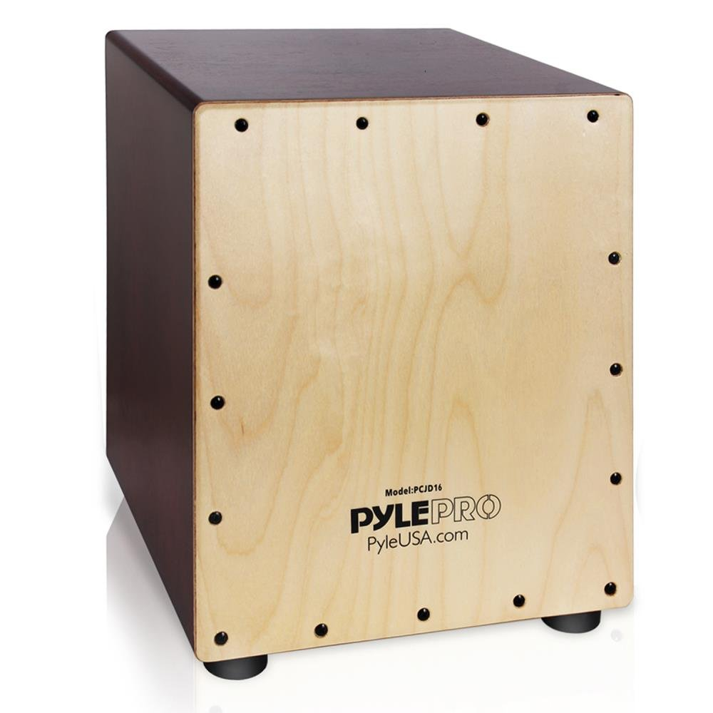 Pyle Stringed Birch Wood Compact Acoustic Jam Cajon - Wooden Hand Drum Percussion Box with Internal Guitar Strings, Deep Bass, Classic Slap, and Crackle Sound - For Kids, Teens, and Adults - PCJD16