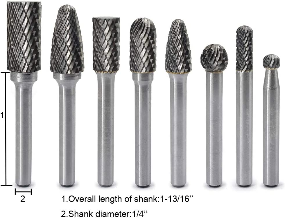 Rotary Burr Bits Set 1//4 Inch Shank For Die Grinder 4X Double Cut-Carbide Useful