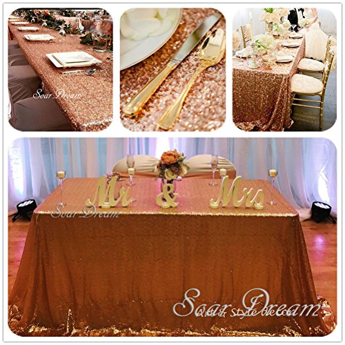 SoarDream 90x132 Inch Rose Gold cheap Sequin Tablecloth