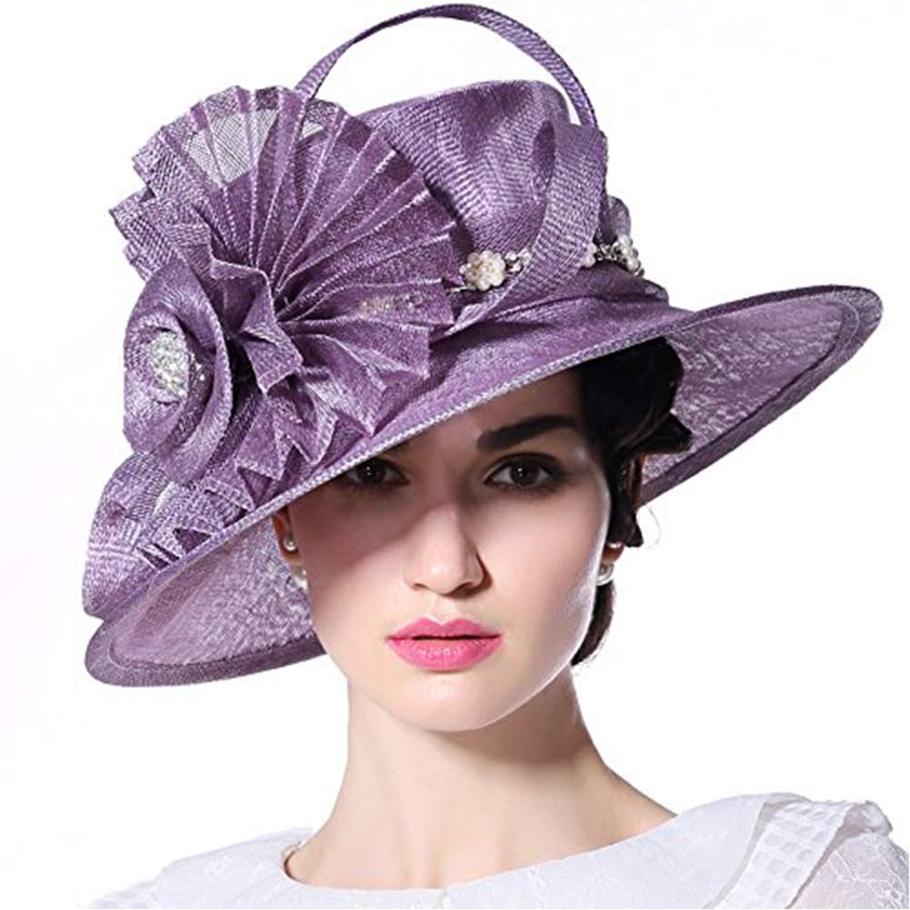 June's Young Women Hat Big Flower Summer Hat Sinamay Wide Brim(Purple)