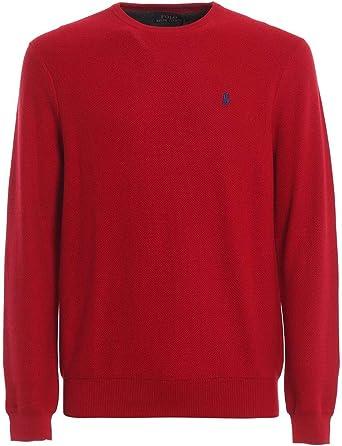 Ralph Lauren Jersey Algodon cuelllo Redondo - Color - Rojo, Talla - L: Amazon.es: Ropa y accesorios