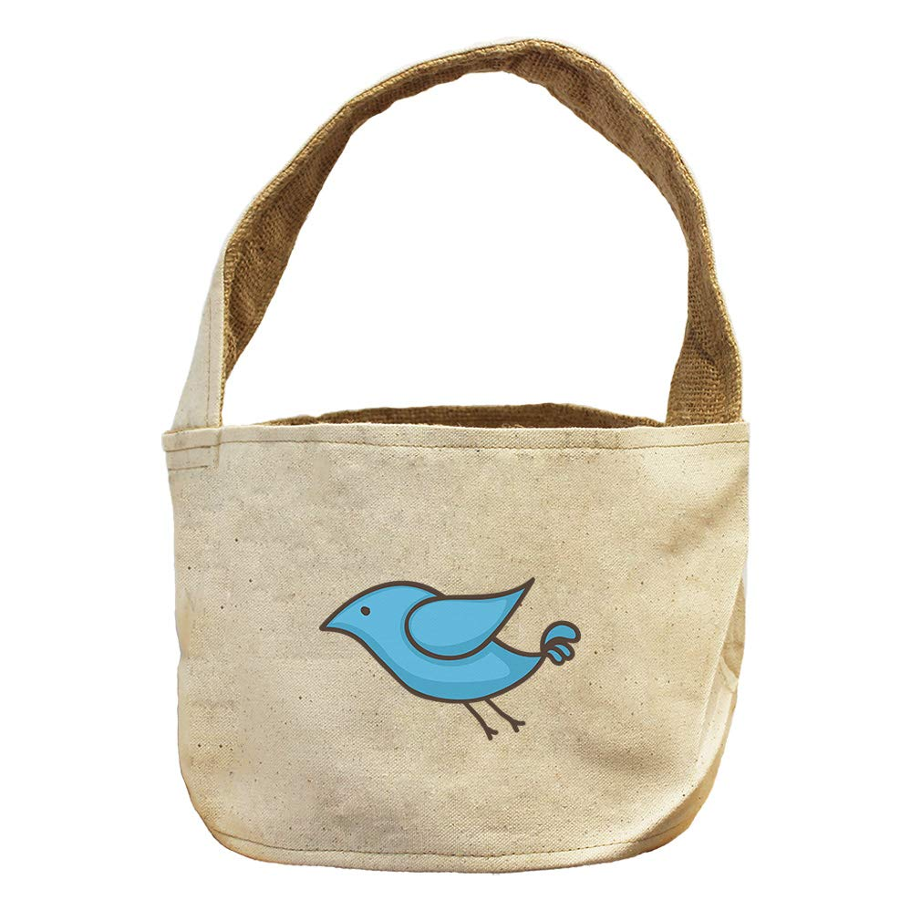Style in Print Little Blue Bird Animals Canvas and Burlap Storage Basket