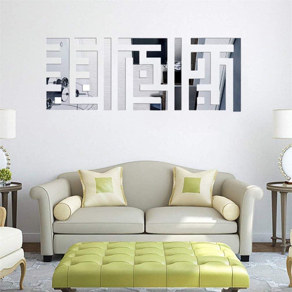 Autocollant 3D en forme de plume pour la maison petite taille, 18 x 73 cm, dor/é la salle de bain la chambre /à coucher Miroir mural en acrylique le salon