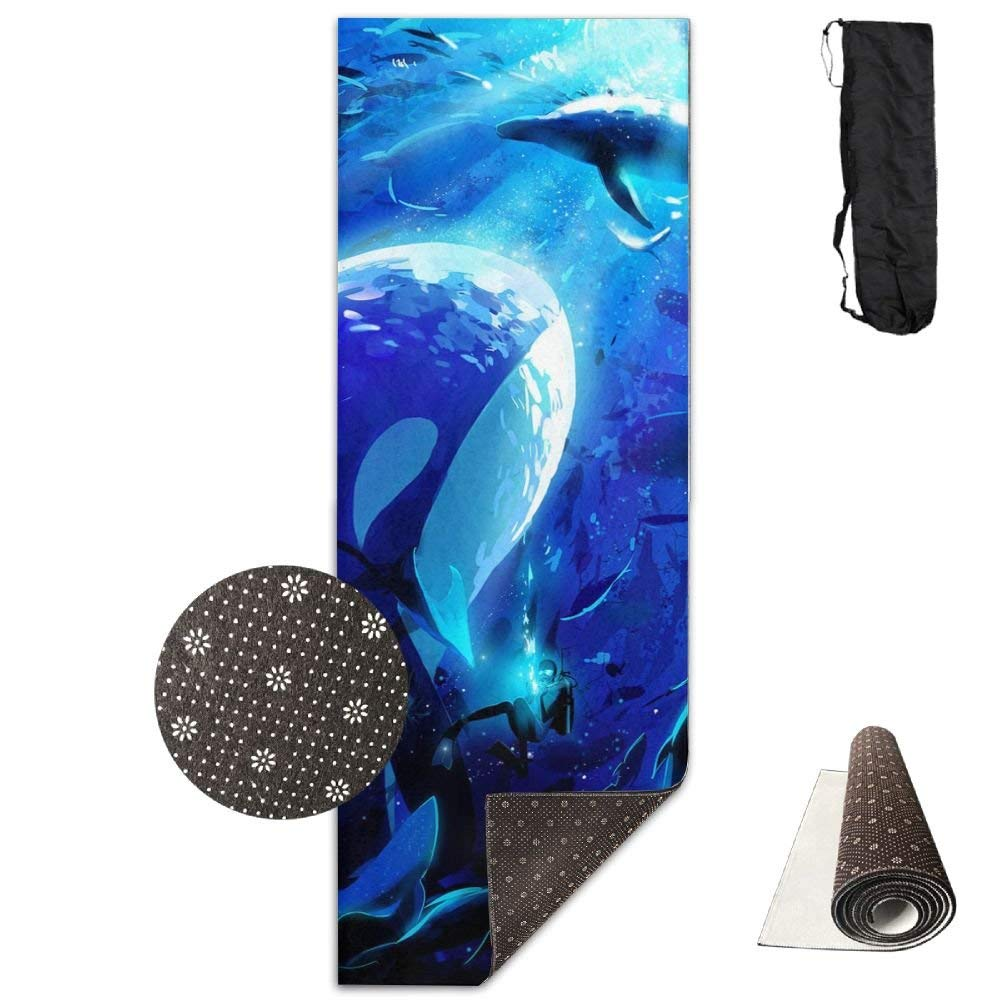 Beautiful Seabed Whale Premium Print Durable Concise Fun Printing Yoga Mat for Yoga, Workout, Fitness
