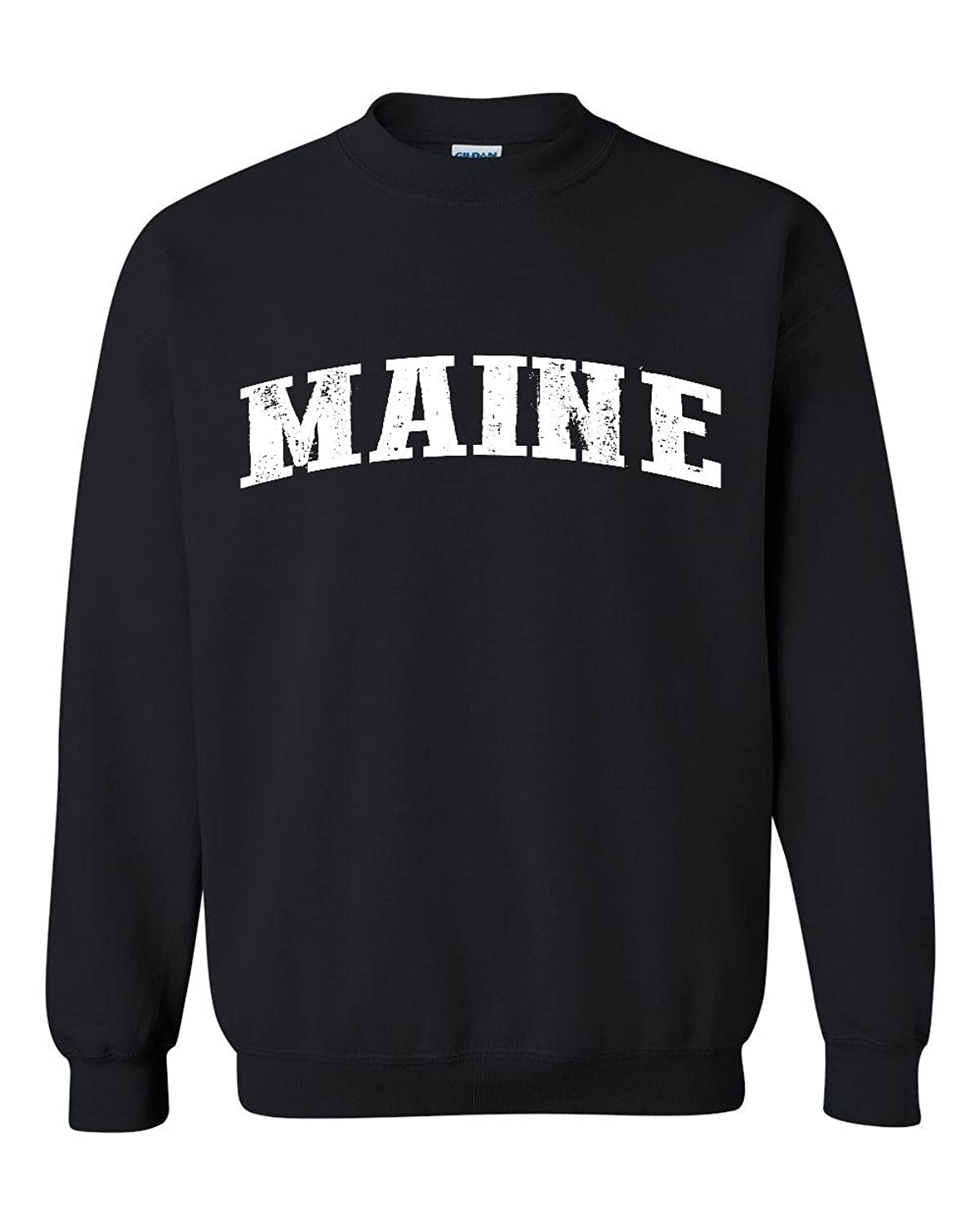 Amazon.com: Ugo ME Maine Map Portland Augusto Flag Black Bears Home University of Maine Unisex Crewneck Sweatshirt: Clothing