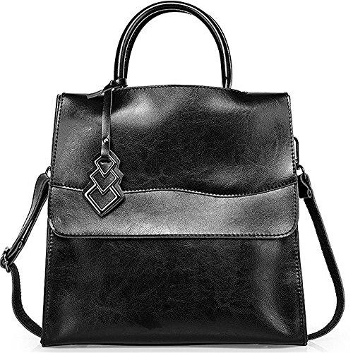 Xinmaoyuan Mujer bolsos de cuero Bolsos de cuero paquete locomotora Bolso Bolso Messenger señoras bolso de gran capacidad Negro