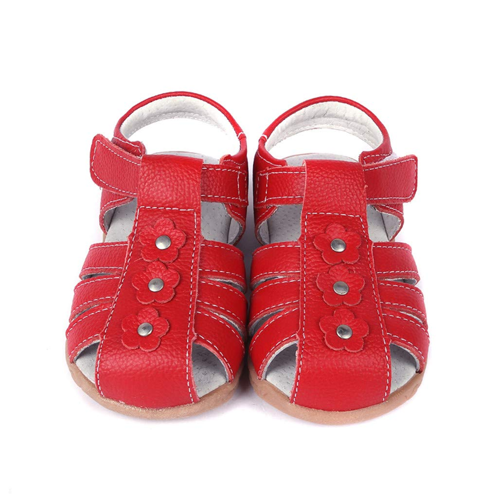 kaifongfu Toddler Boy Girl Genuine Leather Soft Closed Toe Beach Sandals Summer Shoes Comfortable Breathable Shoes Red