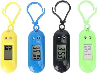 Hemobllo 4 Pcs Keychain Pocket Watch - Mini Key Ring Digital Watch Small Electronic Watch Portable Keychain Watch for Children Kids Students (Random Color, Random Keychain)