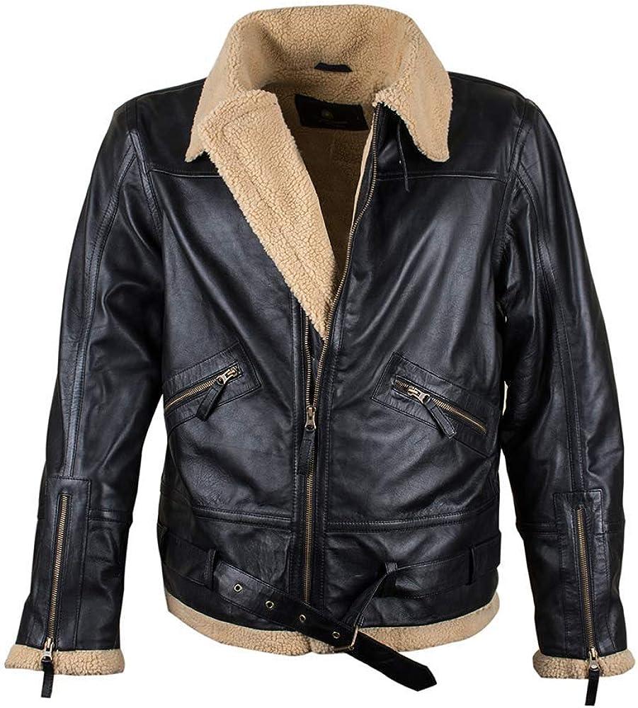 RAF B3 Aviator Ginger Yok Faux Fur Black Real Sheepskin Leather Jacket