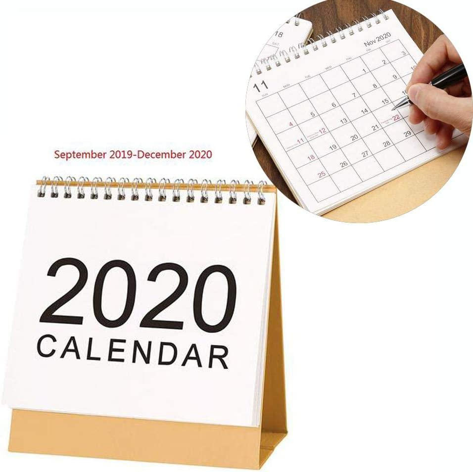 Calendario de Mesa 2019-2020,Calendario Escritorio mensual Grande, Calendario de Escritorio de Calendario de Estilo Simple para escritorios de Oficina en casa