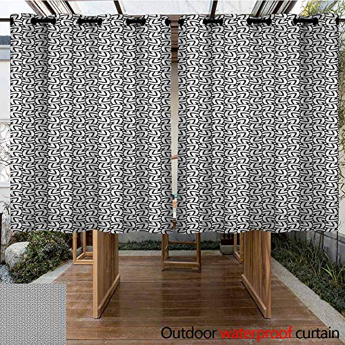 AndyTours Grommet Curtain,Black and White,Grid Style Squares with Lines Traditional Geometric Motifs of Middle East,for Porch&Beach&Patio,K140C100 Black White