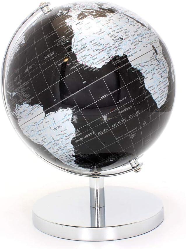 Metal LEONARDO Black /& Silver World Globe 27cm