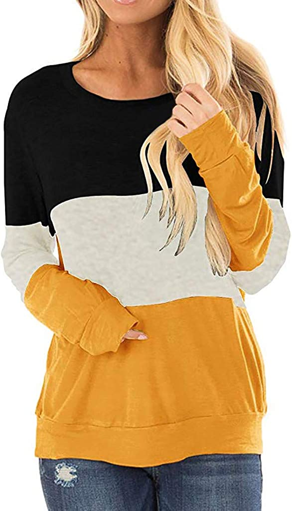 Meikosks Womens Color Block Tunic Round Neck Long Sleeve Sweatshirts Casual T Shirt Pullover