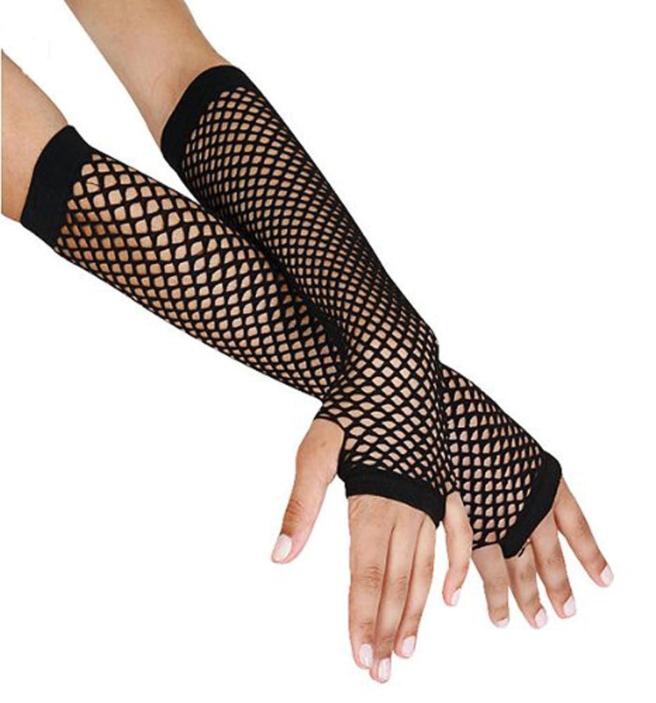 Long black gloves amazon - Amazon Com 1980 S Cindy Lauper Costume Accessory Long Fishnet Gloves Black Clothing