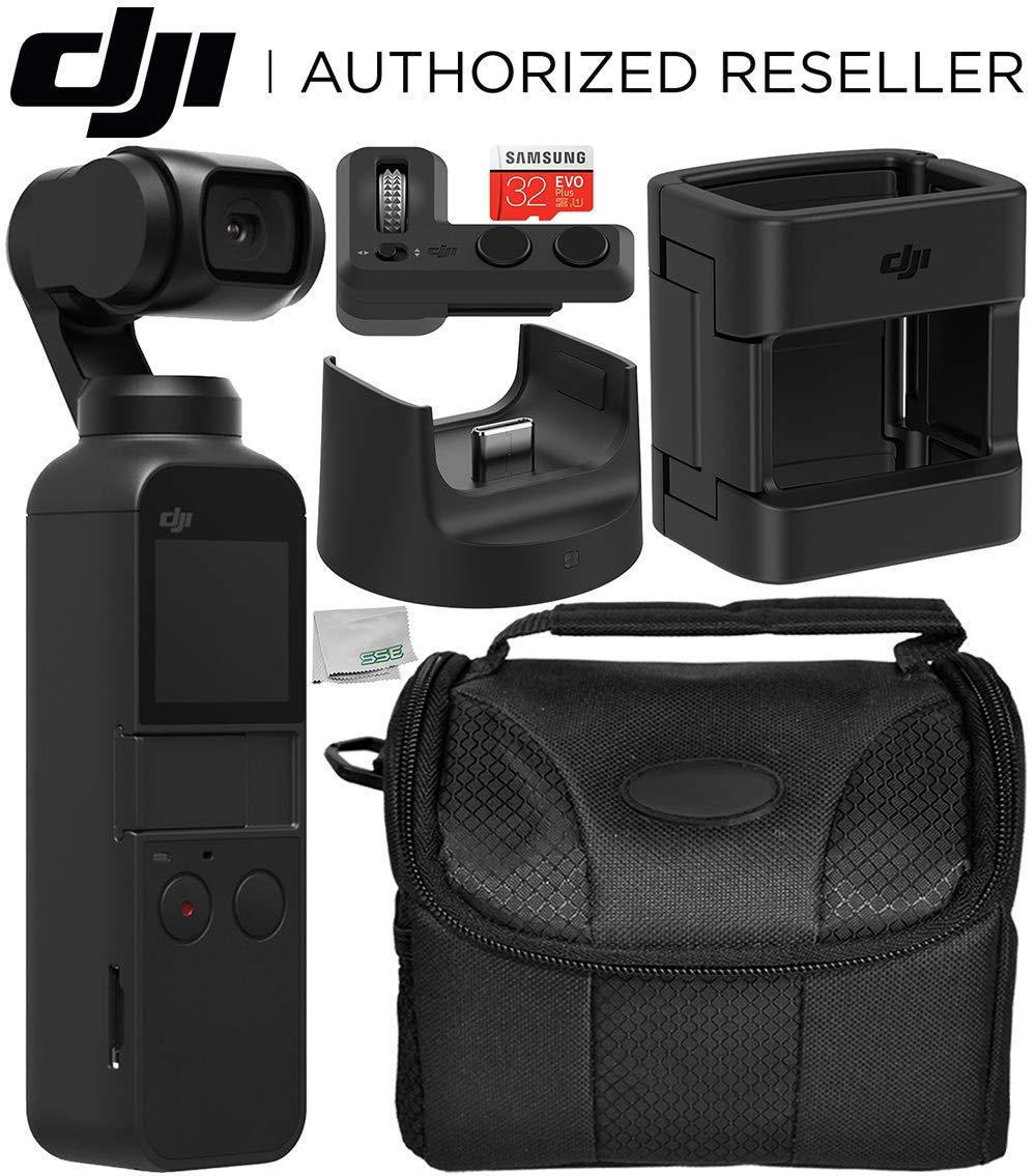 DJI Osmo Pocket Gimbal with DJI Expansion Kit and Starter Accessory Bundle - Includes: 32GB microSDHC Memory Card + DJI Control Wheel + DJI Accessory Mount + DJI Wireless Module Base + More