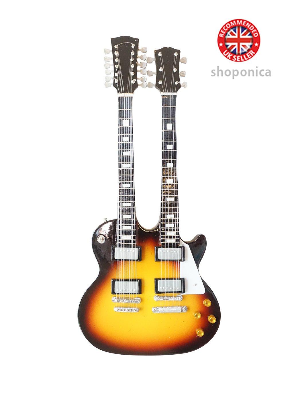 The Eagles Don Felder-Doppel-Hals aus Holz Miniatur-Gitarre Replica Music Legends