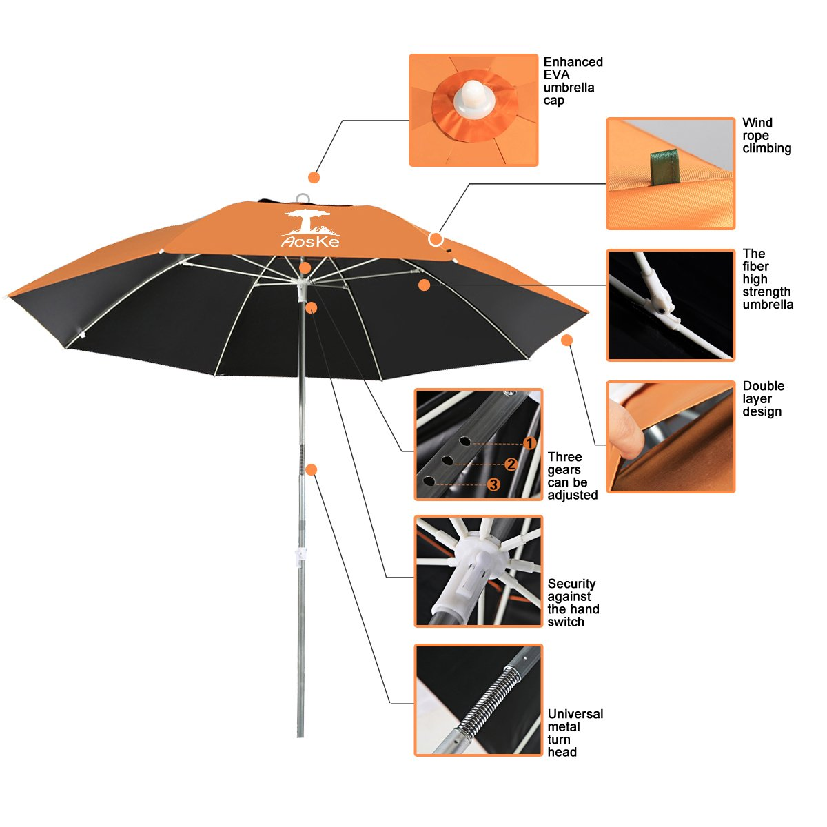 AosKe Portable Sun Shade Umbrella, Inclined, Heat Insulation, Antiultraviolet Function, Commonly Used In patio, Beach, Fishing Essential – Orange