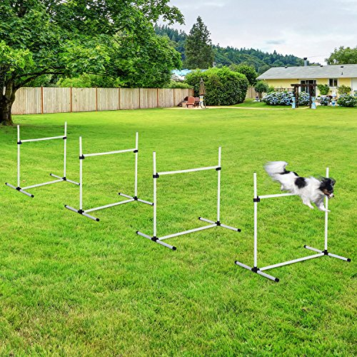 PawHut Adjustable Dog Agility Training Equipment Jump Bar with Carrying Bag - Set of 4 Poles