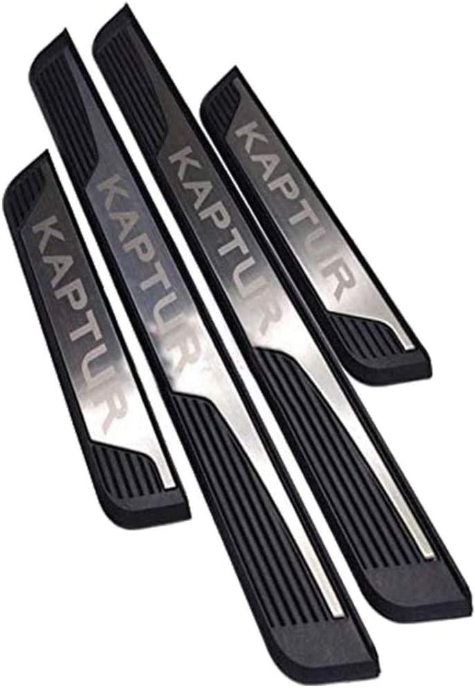 YAVEIL Car P/édale de Couverture de seuil de Garde-seuil de seuil de Porte,pour Renault Captur Kaptur 2015-2020,Garniture plinthes en Acier Inoxydable Accessoires antid/érapants antid/érapants,4Pcs.