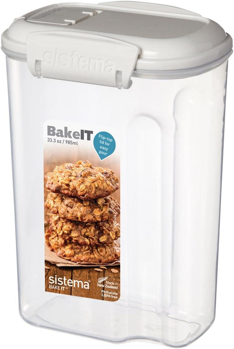 Sistema Klip It Mini Bakery Storage Container, Clear/White, 985 ml