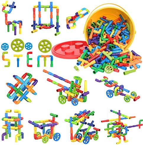 250 Pieces STEM Building Blocks, Pipe Tube Sensory Toys, Creative Tube Locks Construction Set with Wheels, Storage Box, Interlocking Preschool Educational Learning Toys, Present Gift for Boys Girls 3+