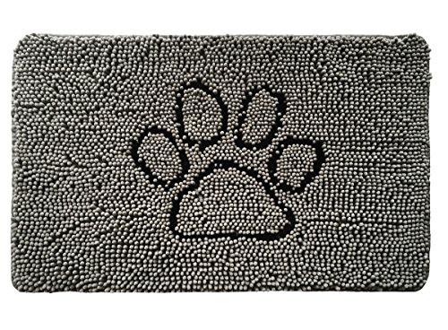 Gorilla Grip Original Indoor Durable Chenille Doormat, (30x20) Absorbent, Machine Washable Inside Mats, Low-Profile Rug Doormats for Entry, Mud Room, Back Door, High Traffic Areas (Paw Gray)