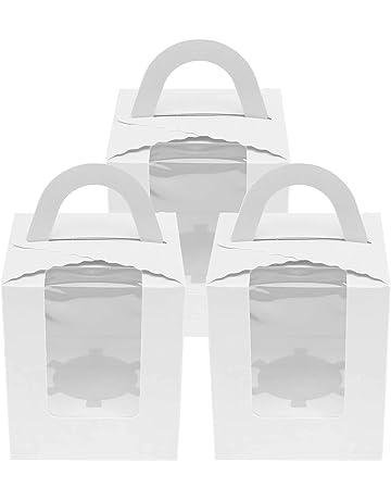 OTOTEC - Caja para Tartas con Ventana para Ventana de Color Blanco/Rosa/Azul