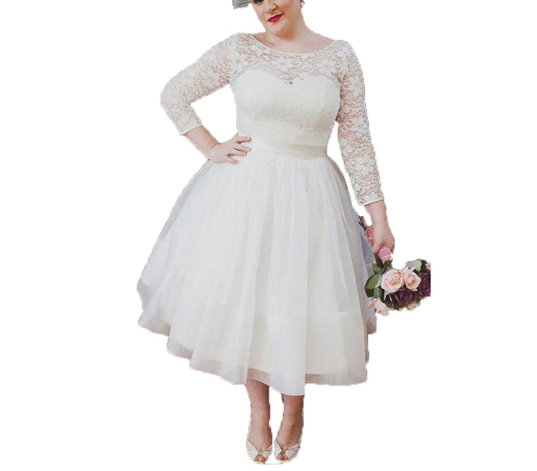 Auxico Plus Size kurze Brautkleid Hochzeitskleid Vintage 3/4 lange ...