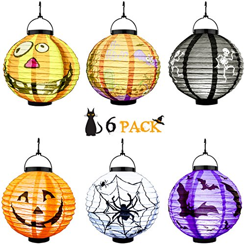 Best Halloween House Decorations (Verkb Halloween Scary Paper Lanterns 6 Pack, Jack-O-Lantern LED Bat Skeleton Spider Pumpkin Light for Holiday Party, Outdoor, Indoor Decorations)