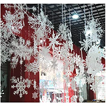 ORYOUGO White Glittered Snowflakes,Pack of 24 Plastic Snowflakes Christmas  Ornaments String Hanger for Decorating, Wedding and Embellishing -S,M,L  Hanging ... - Amazon.com: Snowflake Hanging Decorations For Christmas Party
