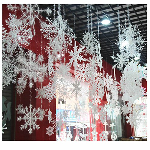 ORYOUGO White Glittered Snowflakes,Pack of 24 Plastic Snowflakes Christmas Ornaments String Hanger for Decorating, Wedding and Embellishing -S,M,L Hanging Snow Flakes