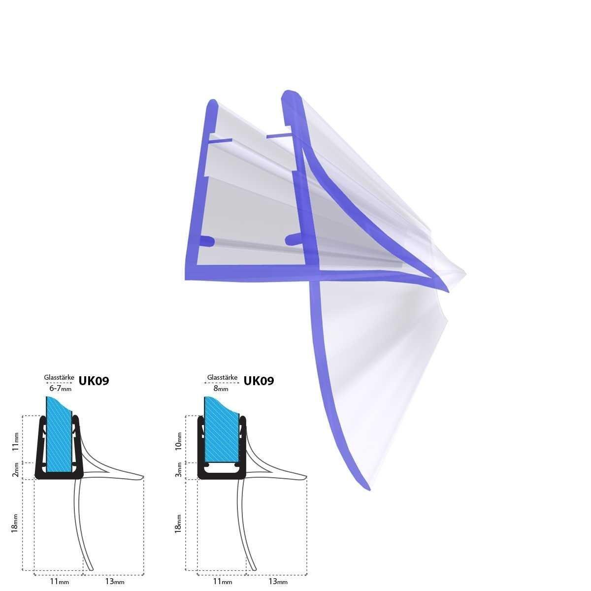 40cm UK09 - Junta de recambio para ducha deflector de 5mm/ 6mm/ 7mm/ 8mm vidrio grueso agua sello ducha de protecció n de sobretensió n recta STEIGNER