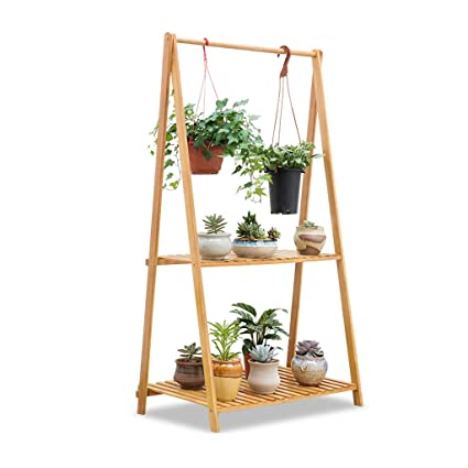 2 Tier Flower Racks Foldable Plant Shelf Bamboo Standing Hanging Pots Holder Shelves