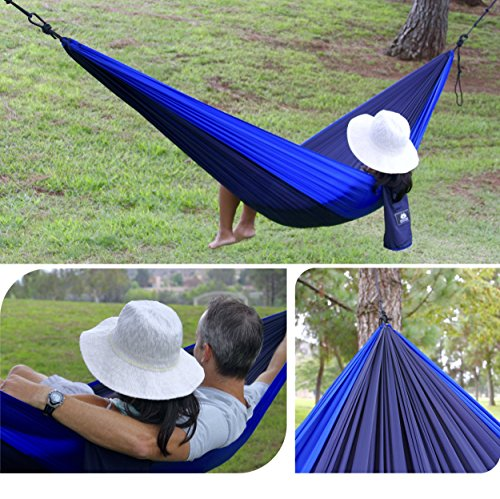 Castle Peak Outfitters XL Double Camping Hammock Swing – Parachute 210T Nylon, Floating Bed, Free Standing Hanging Hammock For Sleeping, Bedroom, Yard, Outdoors, Traveling Also Available With Straps